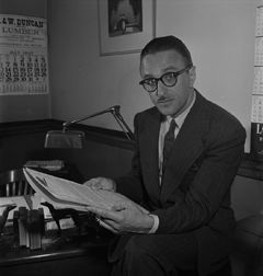"Montreal police lawyer Pacifique 'Pax' Plante,"" from the article ""Morality Squad in Canada's Largest City Proves Vice Can Be Conquered"", The Standard, August 2, 1947. Library and Archives Canada, e011067351"