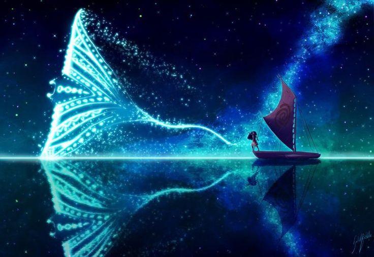 Moana and the spirit of Gramma Tala as a manta ray