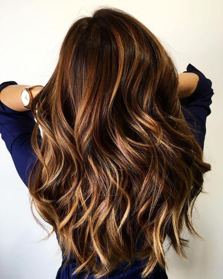 Long Brown Hair With Caramel Highlights