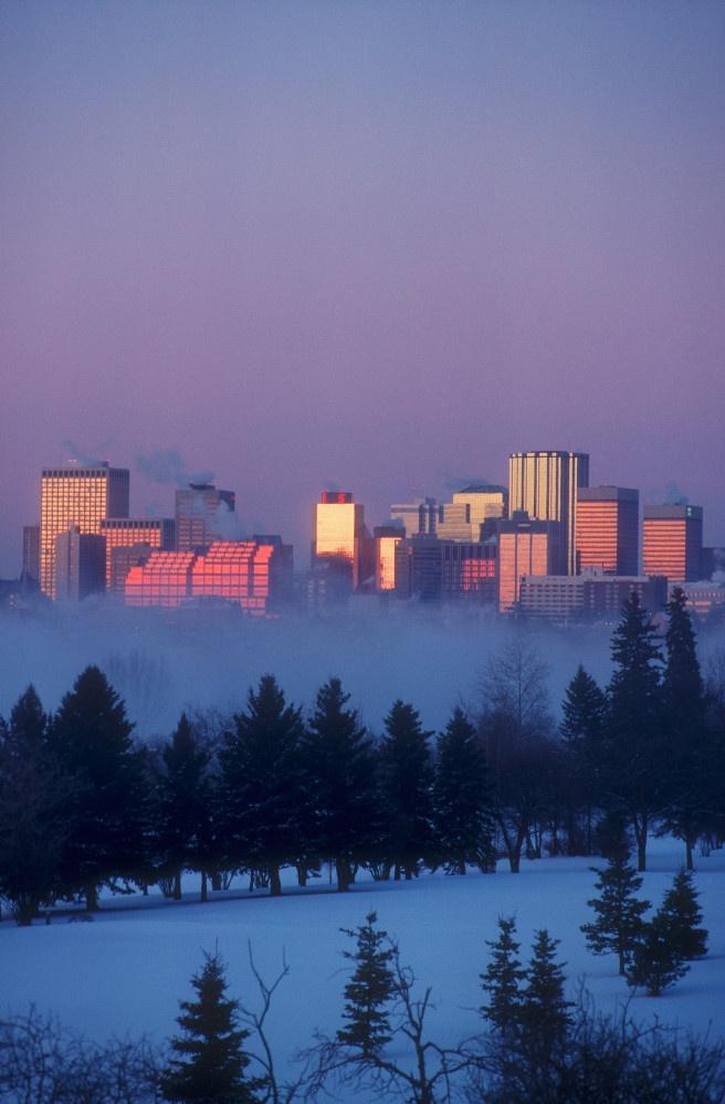 Edmonton - Fog rising from the river