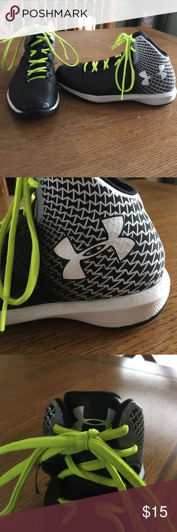 Youth basketball shoes Under armour basketball shoes with neon yellow laces Under Armour Shoes