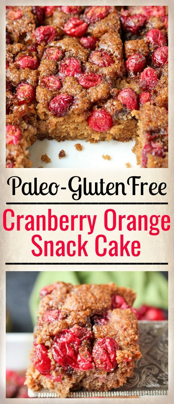 This Paleo Cranberry Orange Snack Cake is so quick and easy. It makes a great breakfast or dessert and is gluten free, dairy free, and naturally sweetened. Great for Christmas!