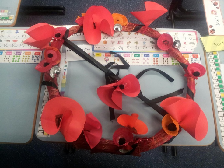 This is our ANZAC day Wreath. The students collect thin, bendy twigs from the playground and we bound it together with nylon knit. They made all the poppies using paper, pompoms and patty cake papers. We used red pipe cleaners to attach the poppies. Pretty cool for 5-6 year olds!