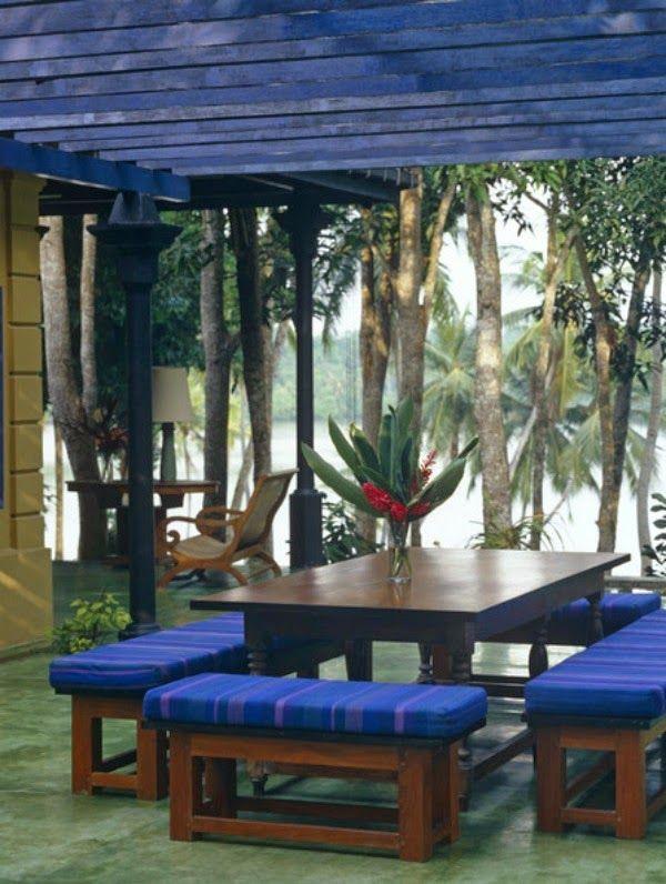 Die besten 25+ Tropical dining benches Ideen auf Pinterest - outdoor patio design ideen