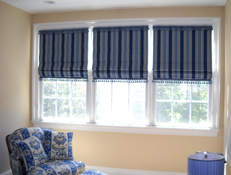 Window treatments  Flat roman shades with tassel fringe top & bottom