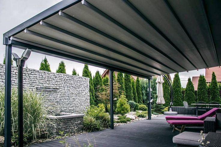 Tarasola Elegancy. Konstrukcja aluminiowa, dach z tkaniny technicznej. Automatycznie otwierana pergola tarasowa.