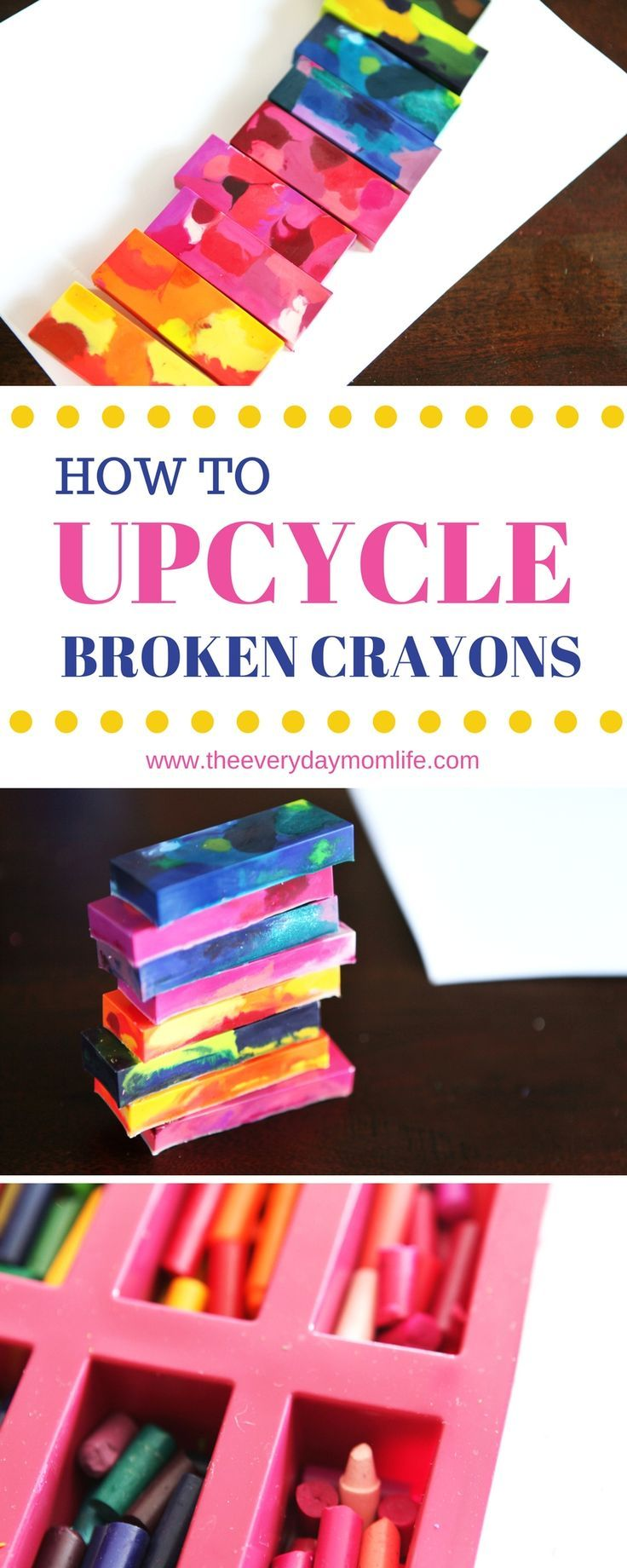 How to upcycle broken crayons in 5 easy steps. Crafts for moms and kids.