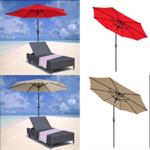 9ft Aluminum Outdoor Patio Umbrella Market Yard Beach w/ Crank Tilt