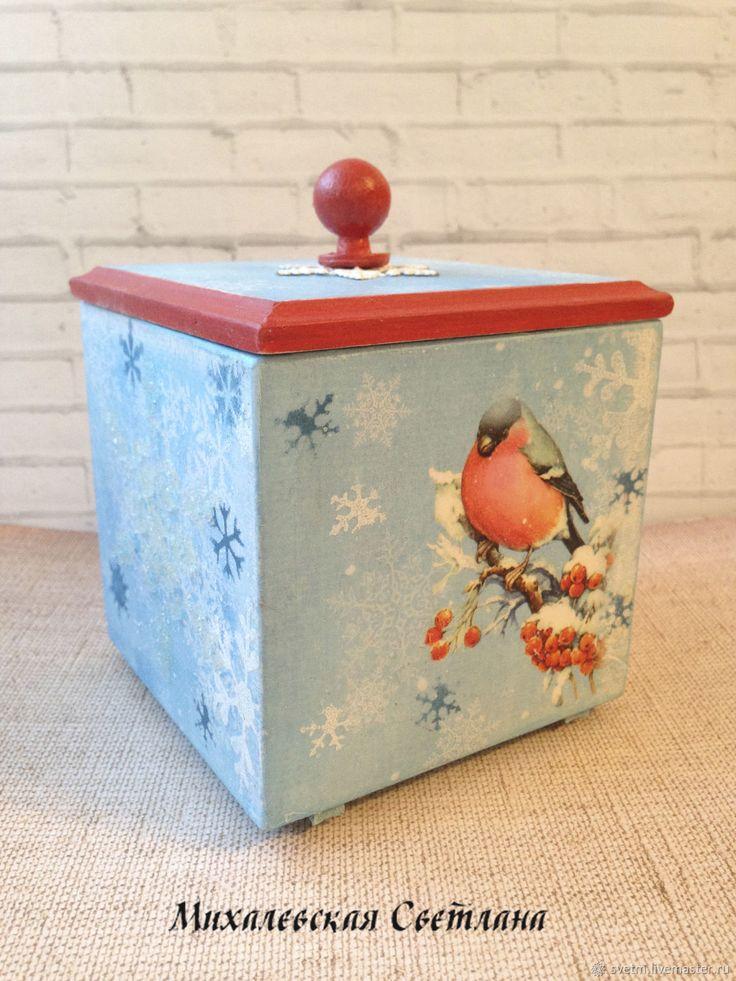 Купить короб для хранения Снегирь для мелочей новый год декупаж в интернет магазине на Ярмарке Мастеров