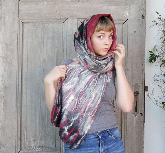 Nuno felted warm scarf winter neckerchief felt wool by filcAlki