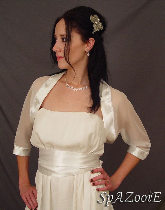 ivory chiffon bridal bolero jacket wedding shrug by spazooiebridal 3499