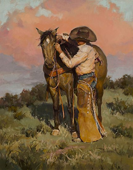 "Beautiful oil painting of a cowboy and his horse named ""Another Notch"" by Shawn Cameron"