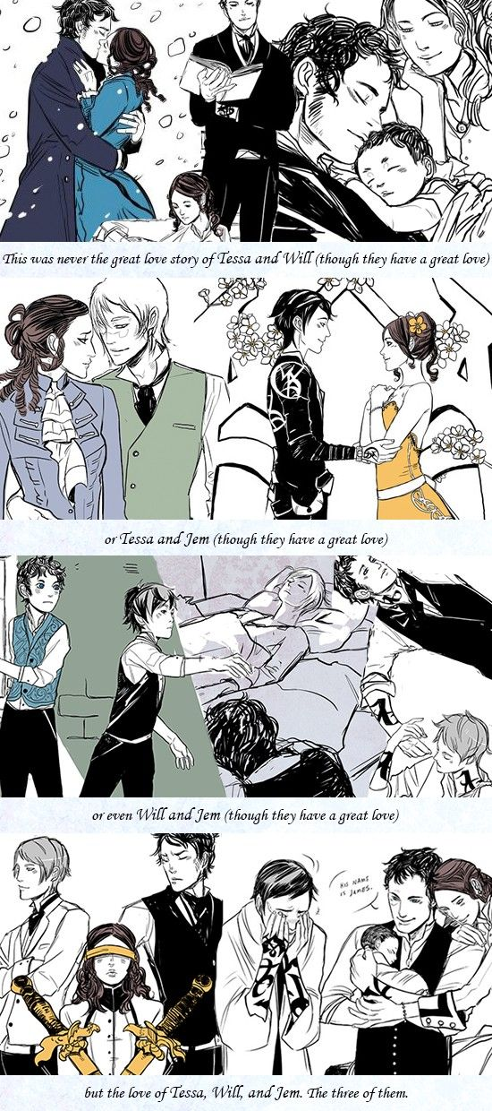 """The love of Tessa, Will, and Jem. The three of them."" - Cassandra Clare, art by Cassandra Jean"