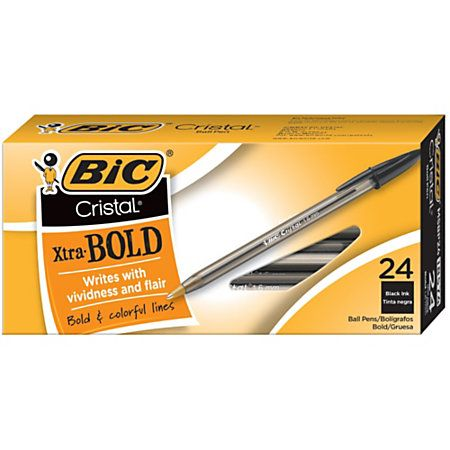 BIC® Cristal® Ballpoint Extra Bold Point, 1.6 mm, Translucent Smoked Barrel, Black Ink, Pack Of 24