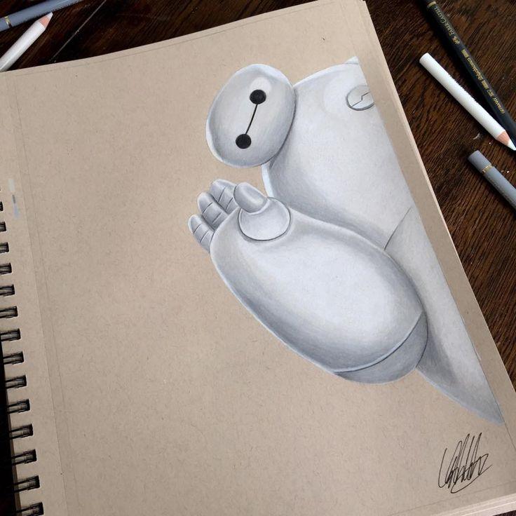 Baymax (Drawing by ChrisClarkeArt @Facebook) #BigHero6