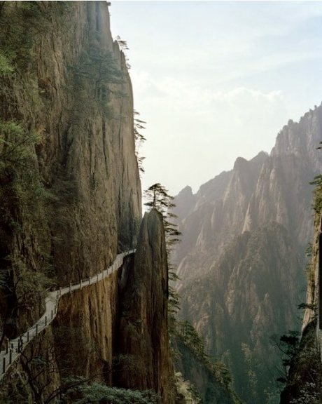 China. Hanging cliff path.