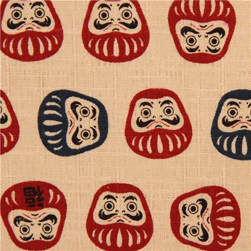 beige structured Daruma doll Cosmo fabric from Japan