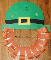 St. Patrick's Day art project.    We made this adorable Leprechaun  mask.  A, Bee, C, Preschool