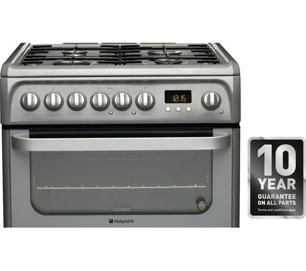 HOTPOINT HUD61G Dual Fuel Cooker - Graphite