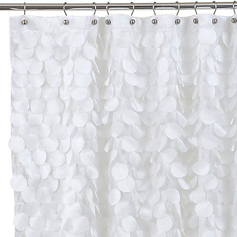 44 best fabric shower curtains images on pinterest bathroom ideas buy gigi x fabric shower curtain in white from at bed bath beyond gigi fabric shower curtain features layers of silky fluttery circular motifs hanging urtaz Choice Image