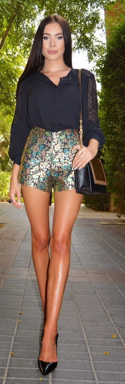 #summer #shorts #trend #outfitideas | Metallic Shorts Chic Style + Black Top