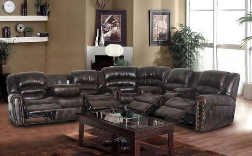 Leather-Recliner-Sectional-Sofa-Furniture-Media-Room-Theater-Reclining-Couch-New