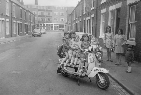 Cooper Street, Middlesborough in 1968. The kids look happy and the street is spotless but the housing was not so good, lacking many of the things that even in 1968 many people elsewhere took for granted.