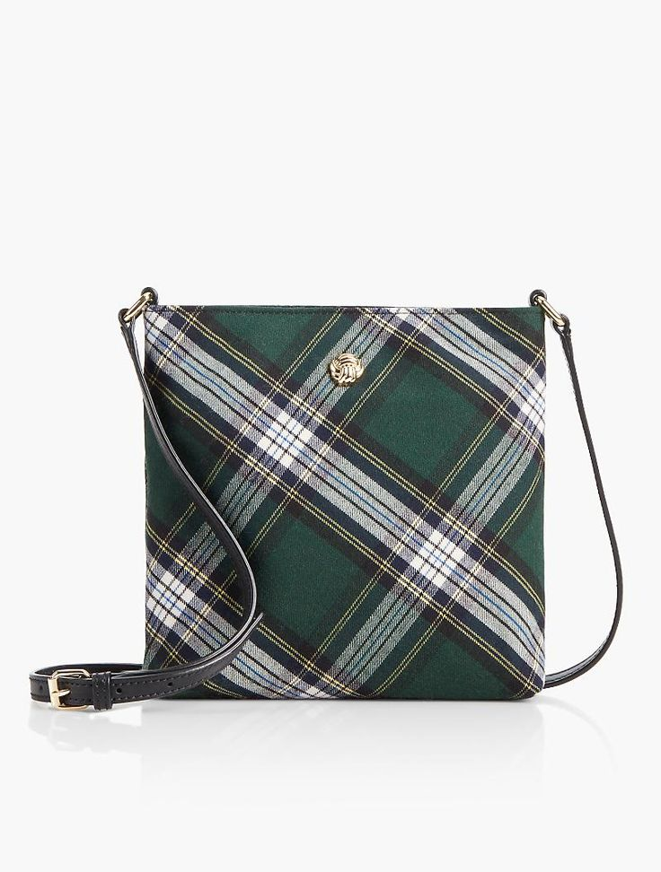 Give your outfit a preppy finish with this Bonfire Plaid Crossbody Purse.