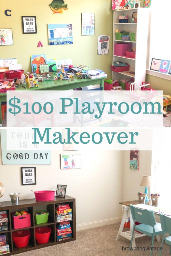 $100 playroom Makeover – A super budget friendly DIY room makeover for the kids….