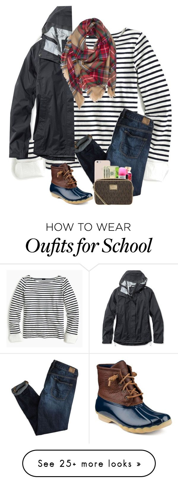 """""""No school tomorrow!!!"""" by preppyandsouthern17 on Polyvore featuring J.Crew, American Eagle Outfitters, Sperry and L.L.Bean"""