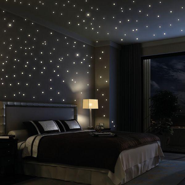 Wandtattoo Sterne 203 Stk leuchten fluoreszierend