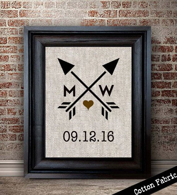 Cotton Anniversary Gift  Heart and Arrow Print   Wedding