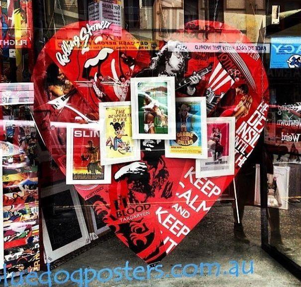 Valentines Day Shop Window. Blue Dog Posters, Newtown, Sydney.