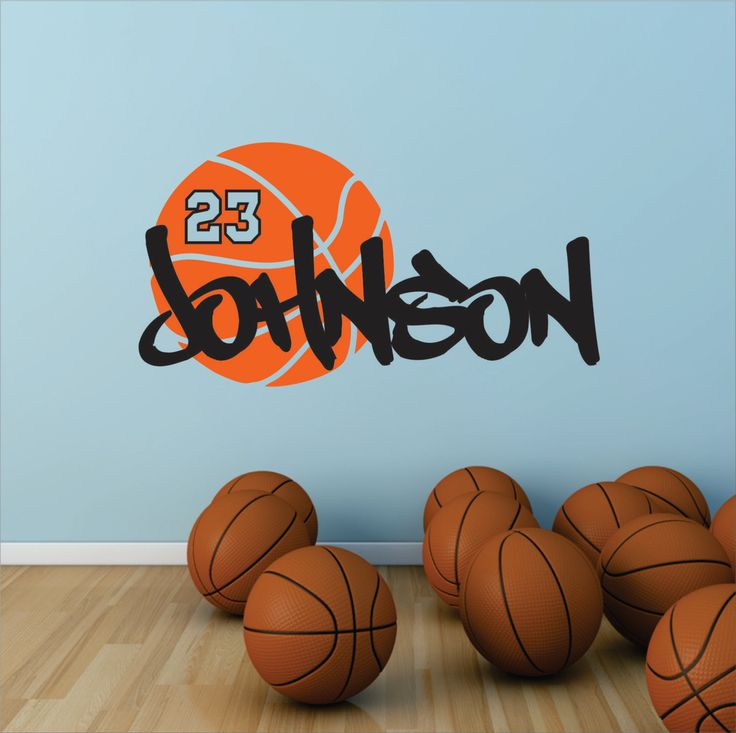 Basketball Name Decal, Basketball Nursery, Sports Decor, Basketball Player Boys & Girls - Personalized Basketball - WD0164 by SignJunkies on Etsy