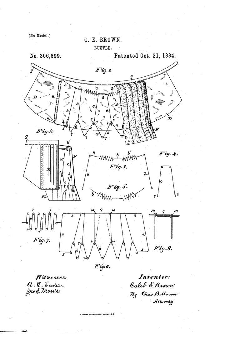 1884 Bustle Patent US306899 - BUSTLE - Google Patents: 1884 Bustle, Bustle Facts, Google Patent, Bustle Patent, Bustle 1885 1888, Big Bustle