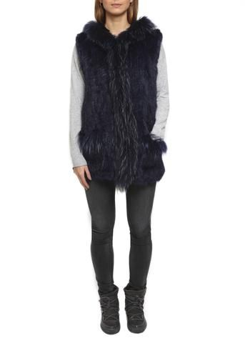 Jessimara Navy Knitted Rabbit & Raccoon Hooded Gilet