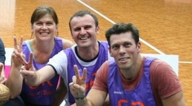 Winners over the ACT media in the netball celebrity game