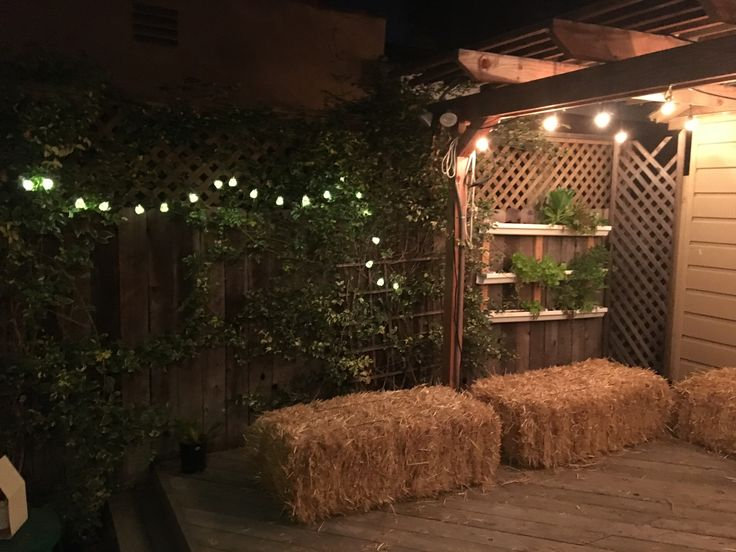 Country themed party- hay bales seating