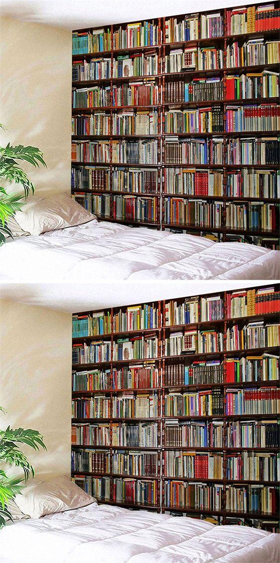 home decor:Bookshelf Printed Wall Blanket Polyester Tapestry