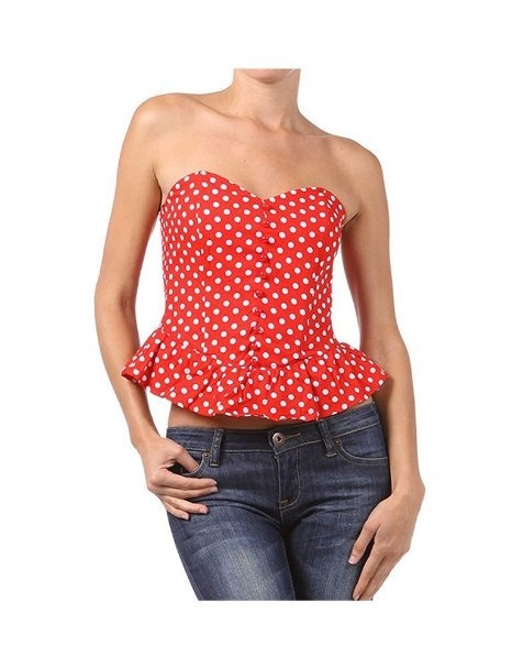 Polka Dot Retro Strapless Peplum Button up Top - Red & Black: Amazon.com: Clothing