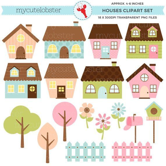 Pastel Houses Clipart Set Clip Art Set Of Cute Houses Trees Fences Pastel House Personal Use Small Commercial Use Instant Download House Clipart Clip Art Pastel House