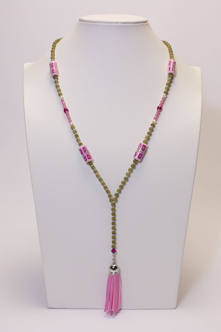 Collier kaki-rose, pompon rose #gadhorre #jewelry
