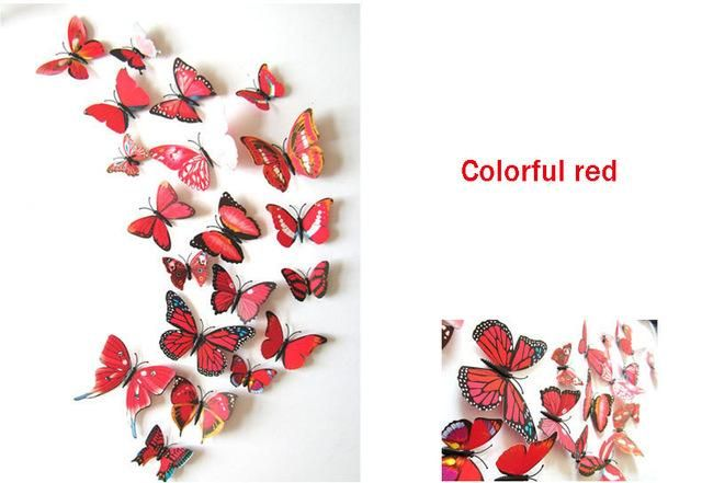 Pcslot D PVC Wall Stickers Butterflies DIY Wall Sticker Home - Butterfly wall decals 3dpvc d diy butterfly wall stickers home decor poster for kitchen