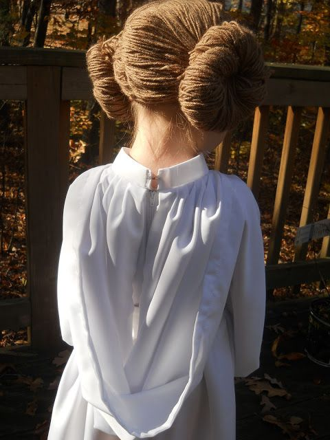Princess Leia costume with yarn wig