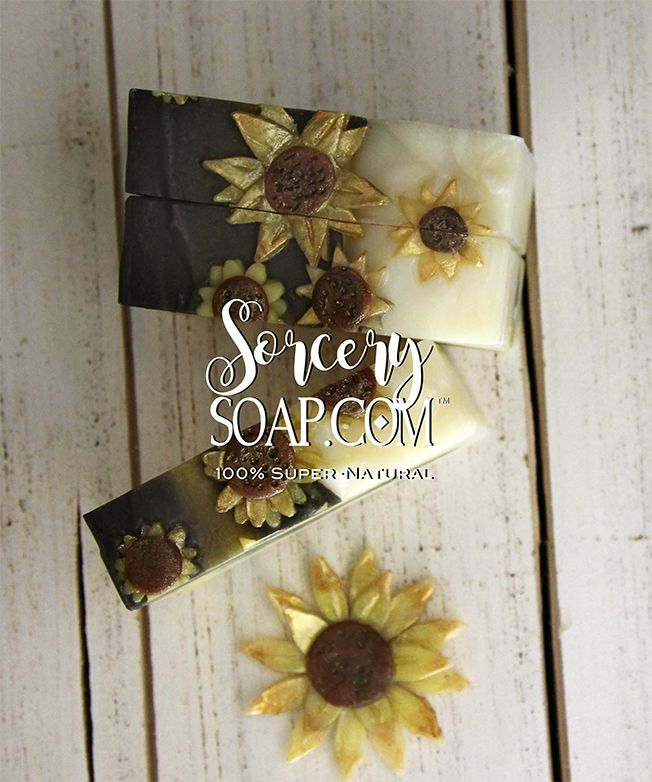 Sunflower Soaps ready in July | #soapmaking #sorcerysoap http://sorcerysoap.com