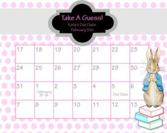 Printable Due Date Calendar // Baby Shower Game // Guess the