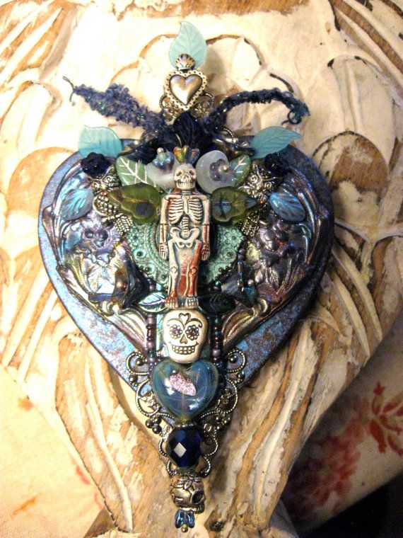 dia de los muertos heart skeleton  mixed media by dancingbeararts,