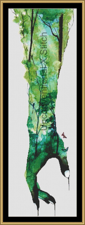 Nature forest cross stitch pattern -  Licensed Karita Smevag Halten by UnconventionalX on Etsy