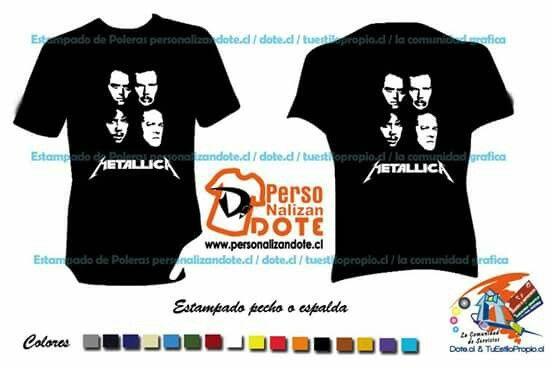Poleras rockera Metallica  /  Poleras estampadas en vinilo $7500 exija su descuento de 10% por dar me gusta.