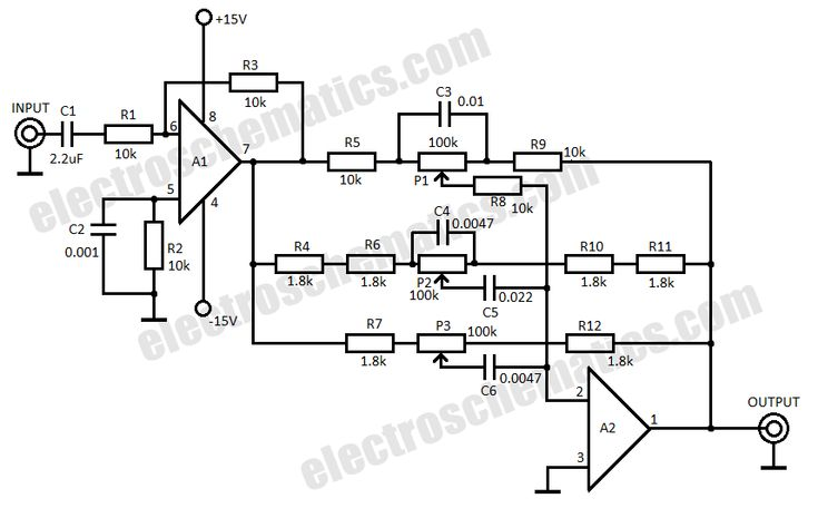 3 band audio equalizer circuit schematic | Electronic